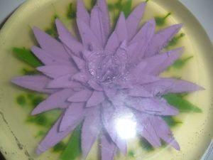 como hacer gelatina artistica flor morada
