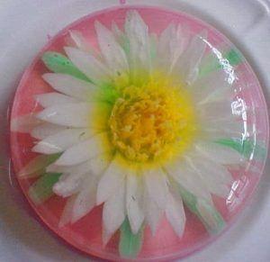como hacer gelatinas decoradas flor blanca