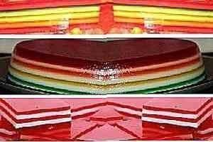 haciendo gelatinas de colores en capas
