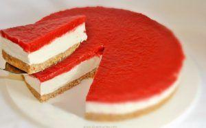 gelatina cheesecake con fresas
