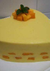 como hacer gelatina con frutas mango con leche condesada